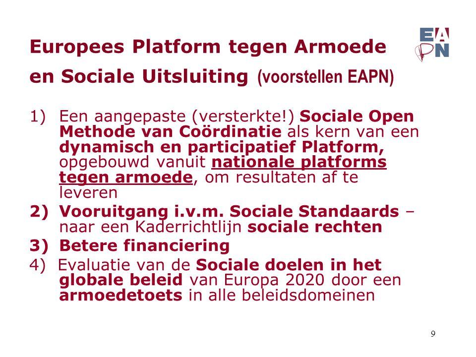 Europees Platform tegen Armoede en Sociale Uitsluiting (voorstellen EAPN) 1)Een aangepaste (versterkte!) Sociale Open Methode van Coördinatie als kern van een dynamisch en participatief Platform, opgebouwd vanuit nationale platforms tegen armoede, om resultaten af te leveren 2)Vooruitgang i.v.m.