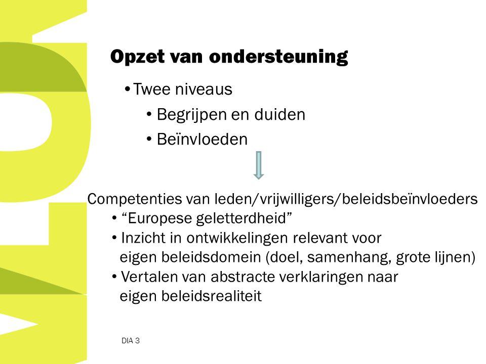 DIA 3 Opzet van ondersteuning Twee niveaus Begrijpen en duiden Beïnvloeden Competenties van leden/vrijwilligers/beleidsbeïnvloeders Europese geletterdheid Inzicht in ontwikkelingen relevant voor eigen beleidsdomein (doel, samenhang, grote lijnen) Vertalen van abstracte verklaringen naar eigen beleidsrealiteit