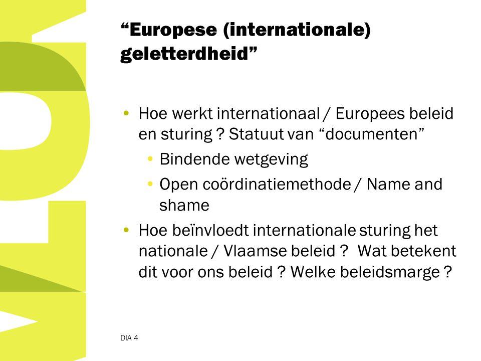 Europese (internationale) geletterdheid Hoe werkt internationaal / Europees beleid en sturing .