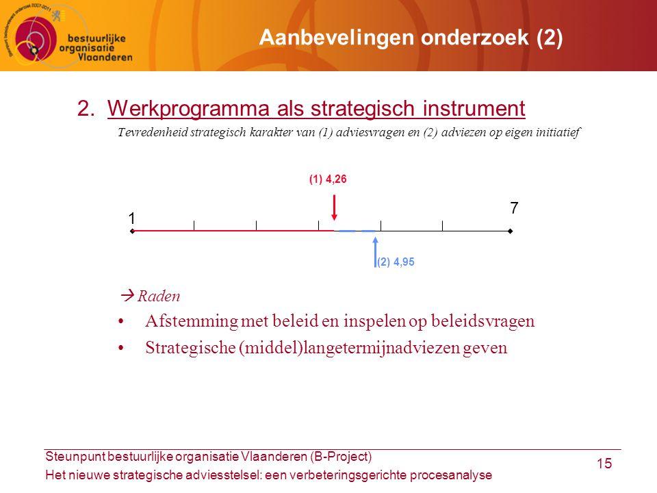Steunpunt bestuurlijke organisatie Vlaanderen (B-Project) Het nieuwe strategische adviesstelsel: een verbeteringsgerichte procesanalyse 15 Aanbevelingen onderzoek (2) 2.