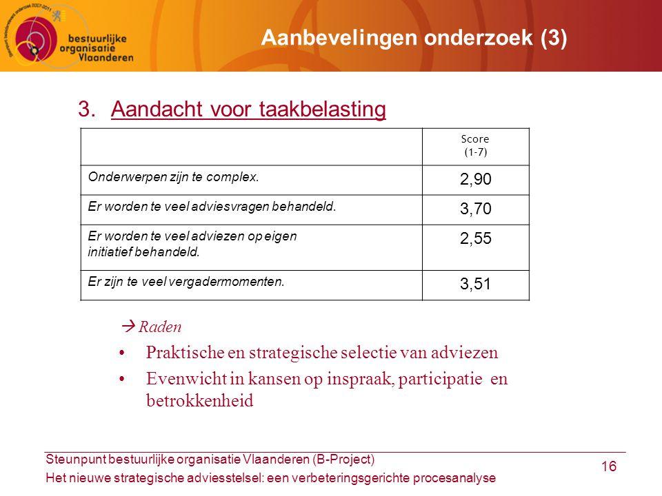 Steunpunt bestuurlijke organisatie Vlaanderen (B-Project) Het nieuwe strategische adviesstelsel: een verbeteringsgerichte procesanalyse 16 Aanbevelingen onderzoek (3) 3.Aandacht voor taakbelasting  Raden Praktische en strategische selectie van adviezen Evenwicht in kansen op inspraak, participatie en betrokkenheid Score (1-7) Onderwerpen zijn te complex.