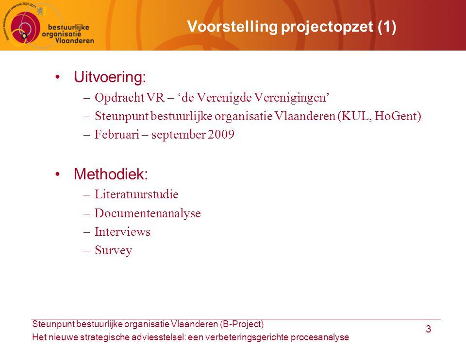 Steunpunt bestuurlijke organisatie Vlaanderen (B-Project) Het nieuwe strategische adviesstelsel: een verbeteringsgerichte procesanalyse 4 Voorstelling projectopzet (2) Doelstellingen: –Wetenschappelijke kennis adviesprocessen –Verkenning en optimalisering nieuwe strategische adviesstelsel –Instrument voor zelfevaluatie Outputs: –Eindrapport met analyse en aanbevelingen –Zelfscan met zelfevaluatie-instrument Onderzoekstraditie: –Projecten rond professionalisering/vermaatschappelijking van beleid –(Mogelijkheden tot) vervolgonderzoek