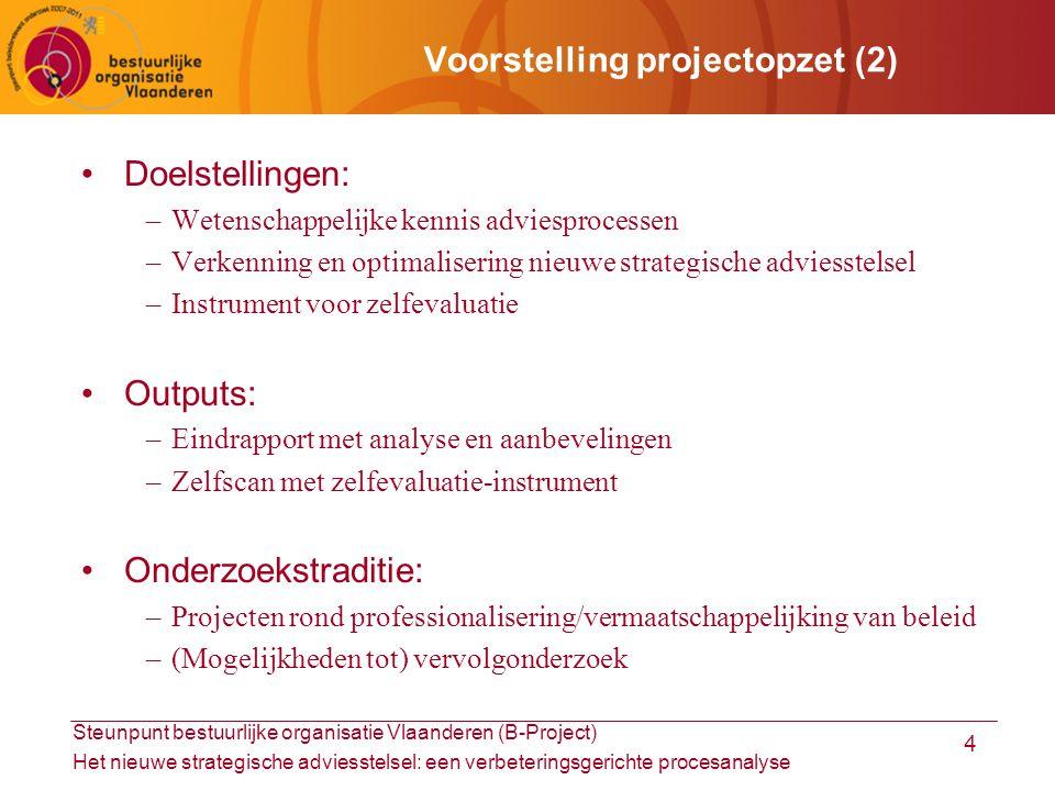 Steunpunt bestuurlijke organisatie Vlaanderen (B-Project) Het nieuwe strategische adviesstelsel: een verbeteringsgerichte procesanalyse 5 Adviesprocessen (1): kenmerken 1/2 Vlaamse SAR's –Formeel geïnstitutionaliseerd Bron: SERV, 2009