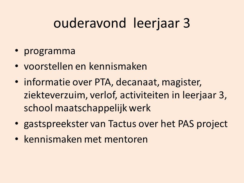 ouderavond leerjaar 3 programma voorstellen en kennismaken informatie over PTA, decanaat, magister, ziekteverzuim, verlof, activiteiten in leerjaar 3,
