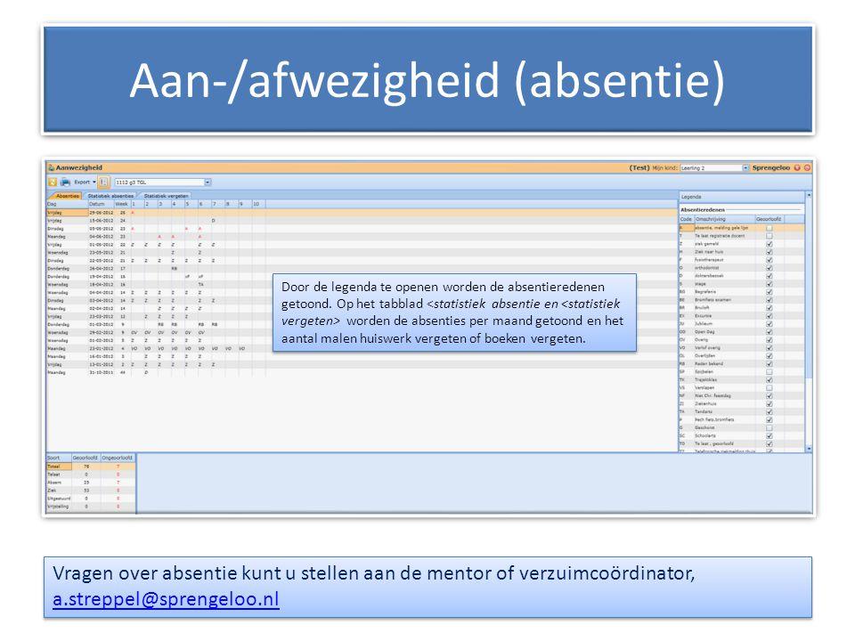 Aan-/afwezigheid (absentie) Vragen over absentie kunt u stellen aan de mentor of verzuimcoördinator, a.streppel@sprengeloo.nl a.streppel@sprengeloo.nl
