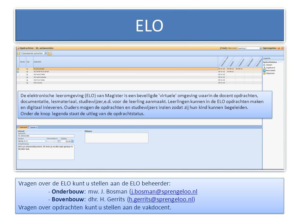 ELO De elektronische leeromgeving (ELO) van Magister is een beveiligde 'virtuele' omgeving waarin de docent opdrachten, documentatie, lesmateriaal, st
