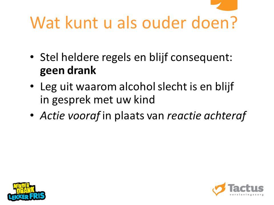 Stel heldere regels en blijf consequent: geen drank Leg uit waarom alcohol slecht is en blijf in gesprek met uw kind Actie vooraf in plaats van reacti