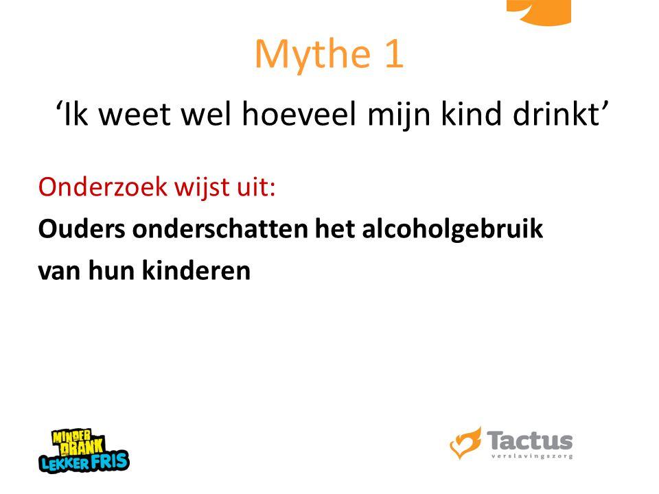 'Ik weet wel hoeveel mijn kind drinkt' Onderzoek wijst uit: Ouders onderschatten het alcoholgebruik van hun kinderen Mythe 1