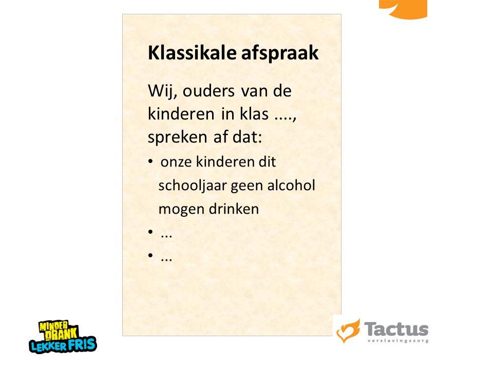 Klassikale afspraak Wij, ouders van de kinderen in klas...., spreken af dat: onze kinderen dit schooljaar geen alcohol mogen drinken...