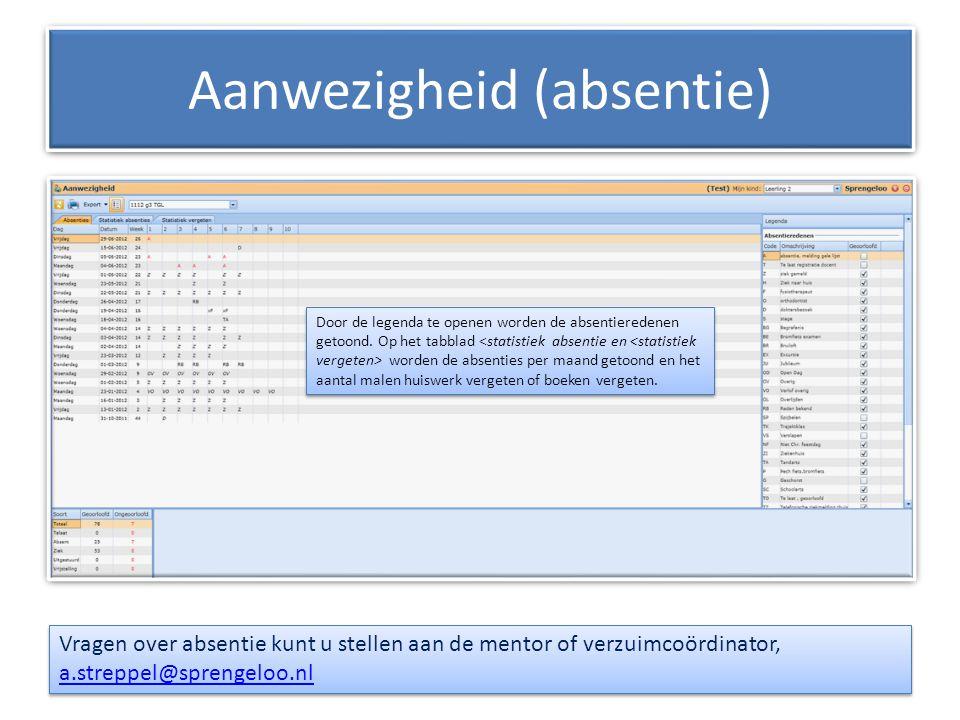 Aanwezigheid (absentie) Vragen over absentie kunt u stellen aan de mentor of verzuimcoördinator, a.streppel@sprengeloo.nl a.streppel@sprengeloo.nl Vra