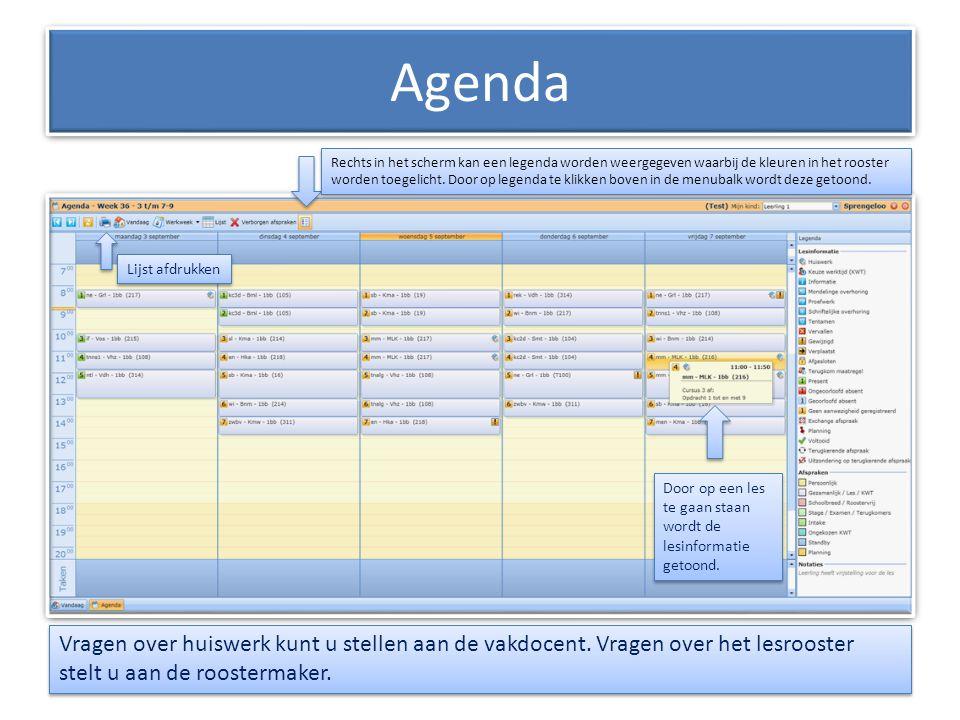 Agenda Rechts in het scherm kan een legenda worden weergegeven waarbij de kleuren in het rooster worden toegelicht. Door op legenda te klikken boven i