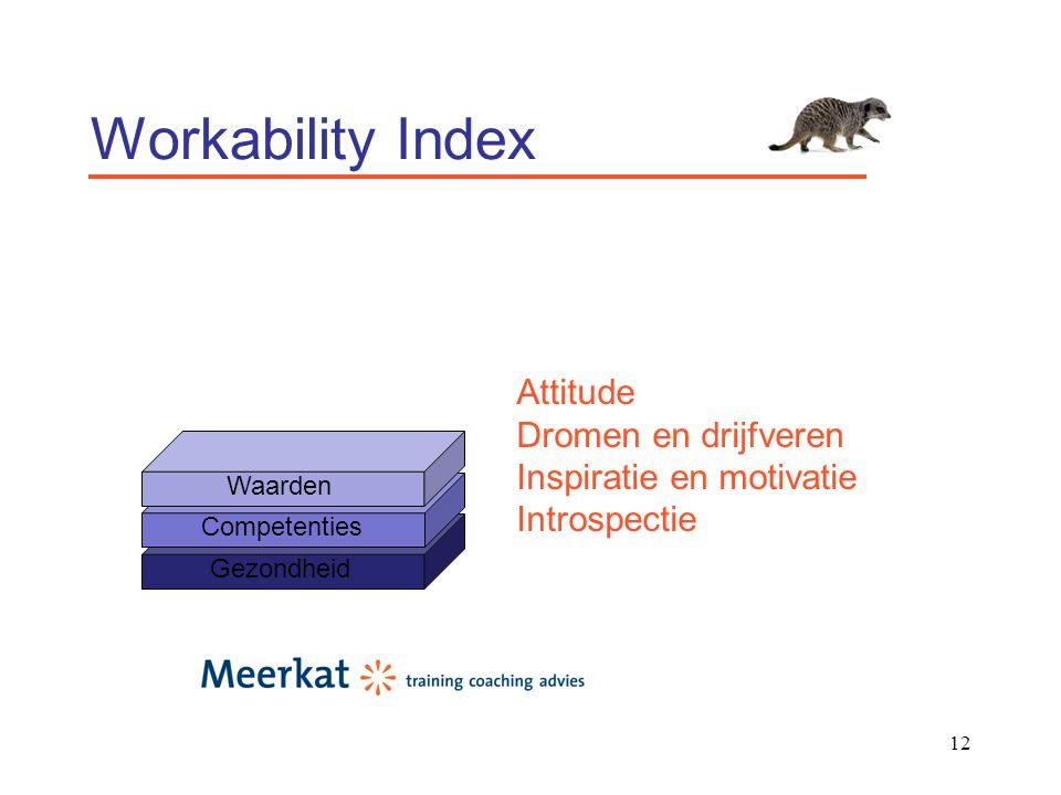 12 Workability Index Gezondheid Competenties Waarden Attitude Dromen en drijfveren Inspiratie en motivatie Introspectie