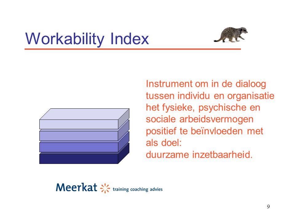 10 Workability Index Gezondheid Fysieke, mentale en sociaal-emotionele balans en gezondheid.