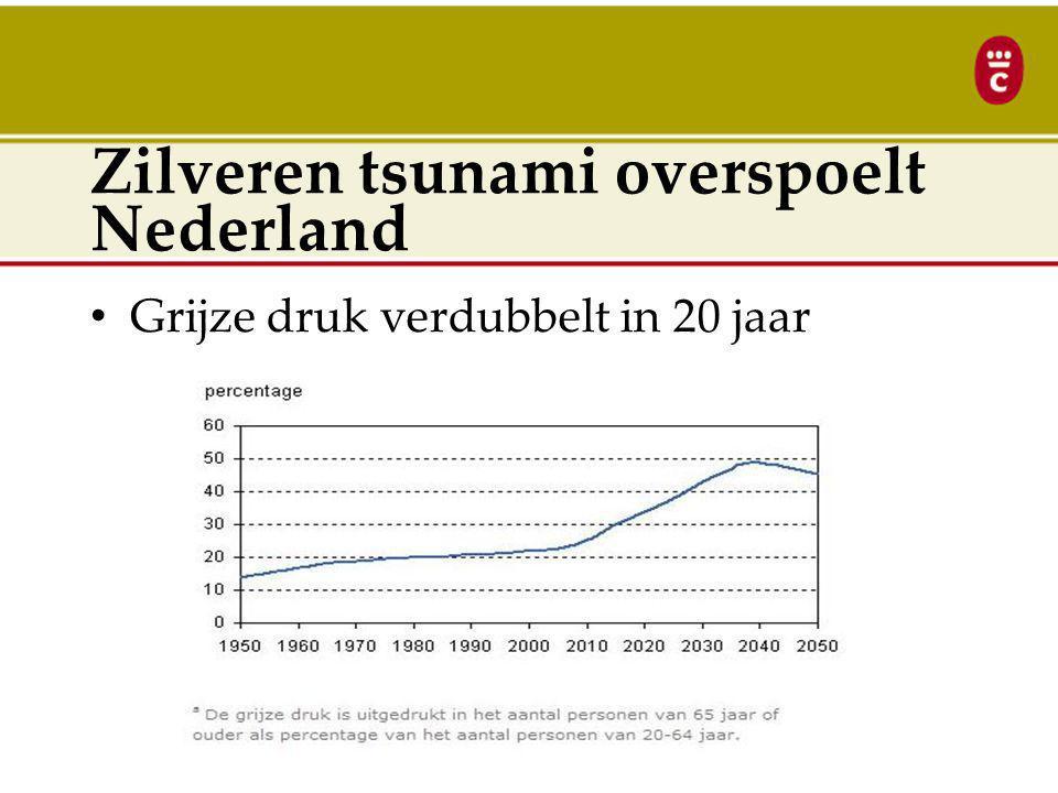 Zilveren tsunami overspoelt Nederland Zilveren tsunami overspoelt Nederland: 1.Dubbele zorgvraag in 20 jaar door vergrijzing 2.Minder handen aan het bed door ontgroening 3.Minder mantelzorg door individualisering 4.Minder collectieve middelen?