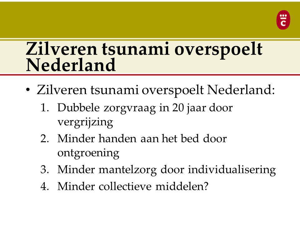 Zilveren tsunami overspoelt Nederland Zilveren tsunami overspoelt Nederland: 1.Dubbele zorgvraag in 20 jaar door vergrijzing 2.Minder handen aan het bed door ontgroening 3.Minder mantelzorg door individualisering 4.Minder collectieve middelen