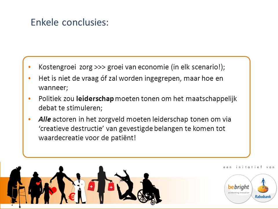 Enkele conclusies: Kostengroei zorg >>> groei van economie (in elk scenario!); Het is niet de vraag óf zal worden ingegrepen, maar hoe en wanneer; Pol