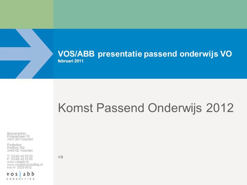 Bezoekadres: Polanerbaan 15 3447 GN Woerden Postadres: Postbus 162 3440 AD Woerden T: (0348) 40 52 00 F: (0348) 40 52 05 www.vosabb.nl www.vosabbconsu