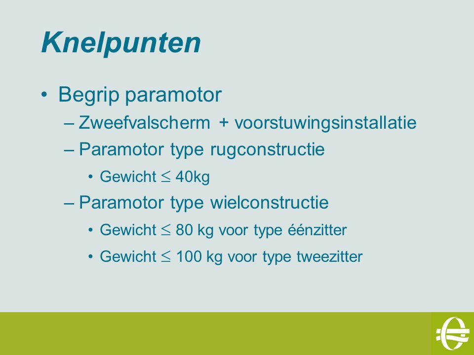 Knelpunten Begrip paramotor –Zweefvalscherm + voorstuwingsinstallatie –Paramotor type rugconstructie Gewicht  40kg –Paramotor type wielconstructie Gewicht  80 kg voor type éénzitter Gewicht  100 kg voor type tweezitter