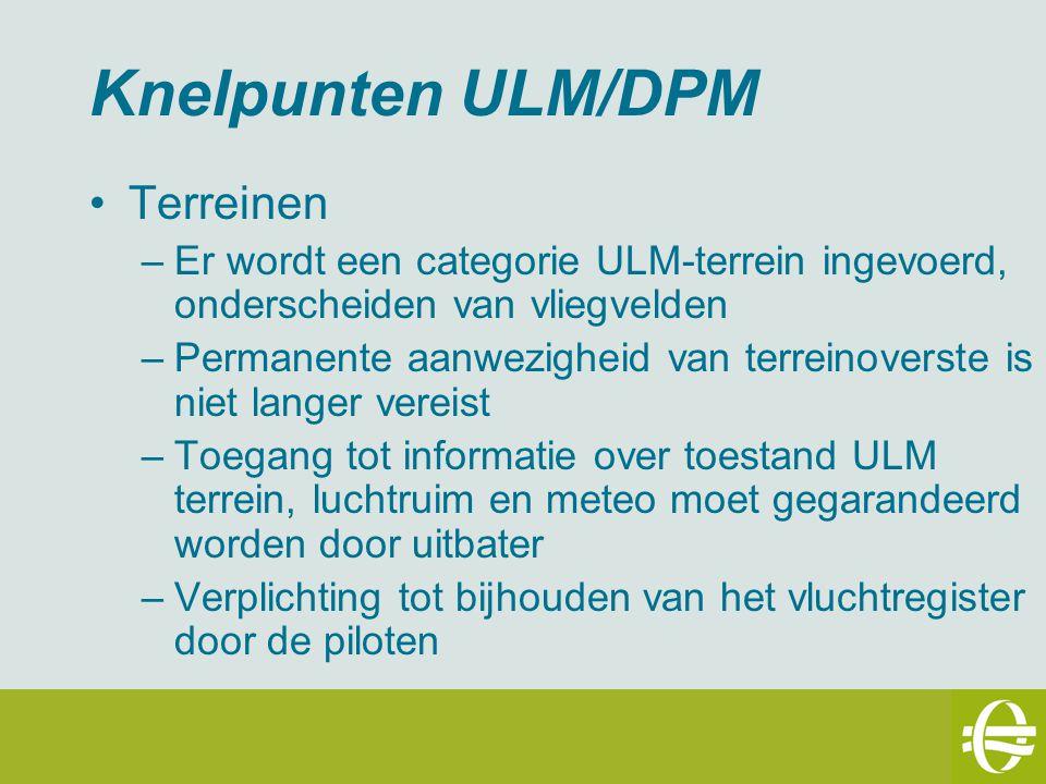 Knelpunten ULM/DPM Luchtarbeid –In kader van dit KB wordt opleiding niet als luchtarbeid gezien –Het KB luchtarbeid zal worden herzien zodat luchtarbeid met ULM mogelijk wordt mits bijkomende voorwaarden aan de vliegtoelating –Bijkomende voorwaarden moeten materieel en niet administratief zijn