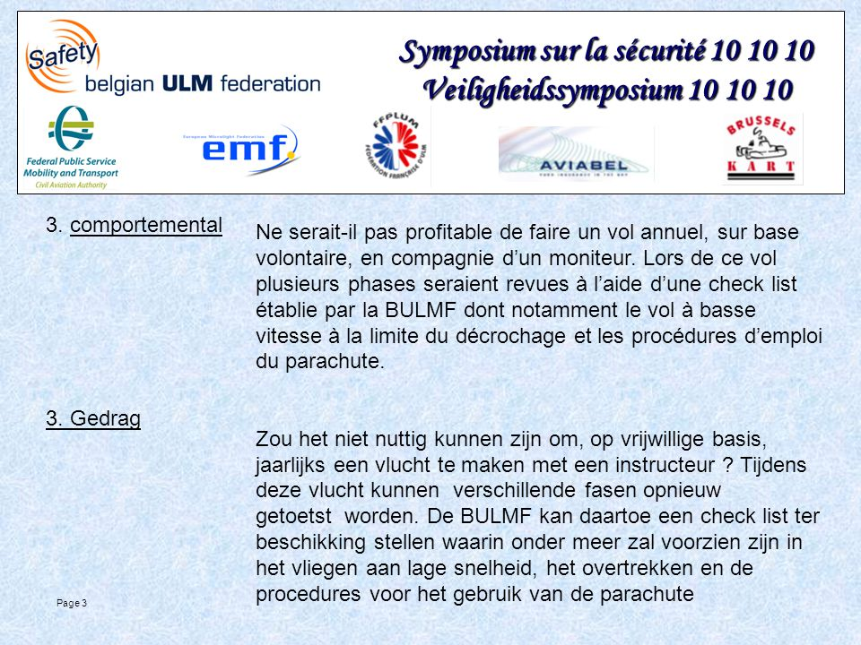 Symposium sur la sécurité 10 10 10 Veiligheidssymposium 10 10 10 Page 3 3.