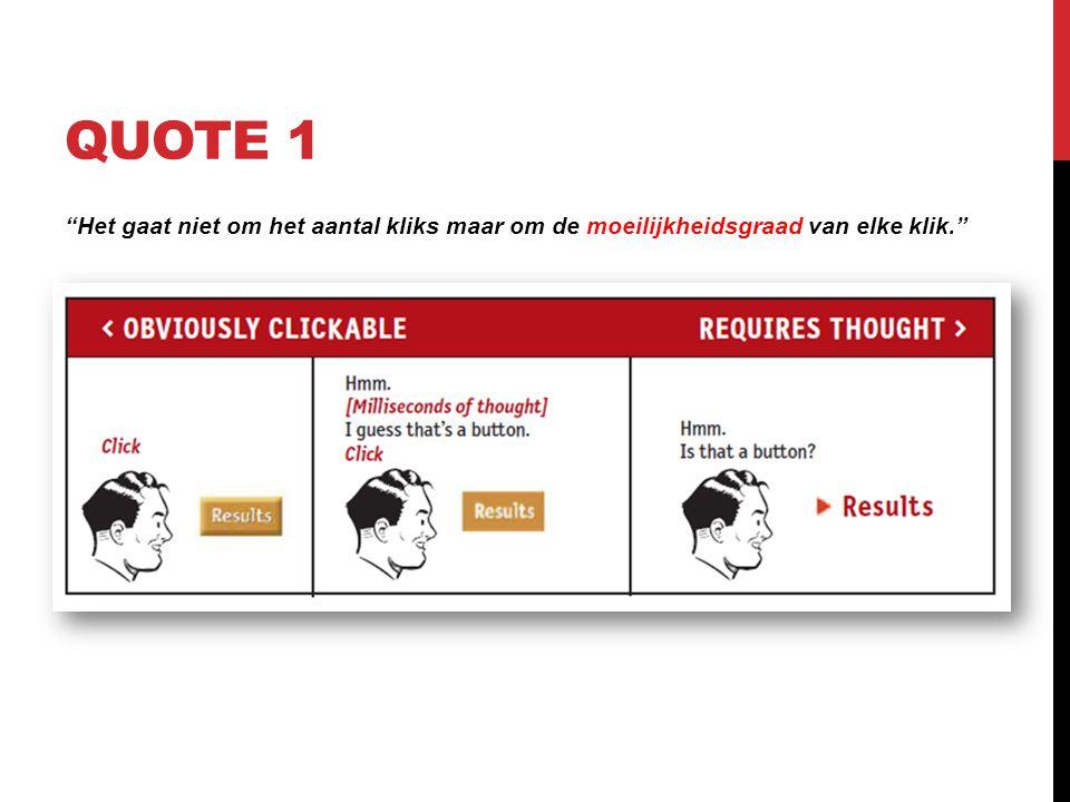 QUOTE 1 Het gaat niet om het aantal kliks maar om de moeilijkheidsgraad van elke klik.