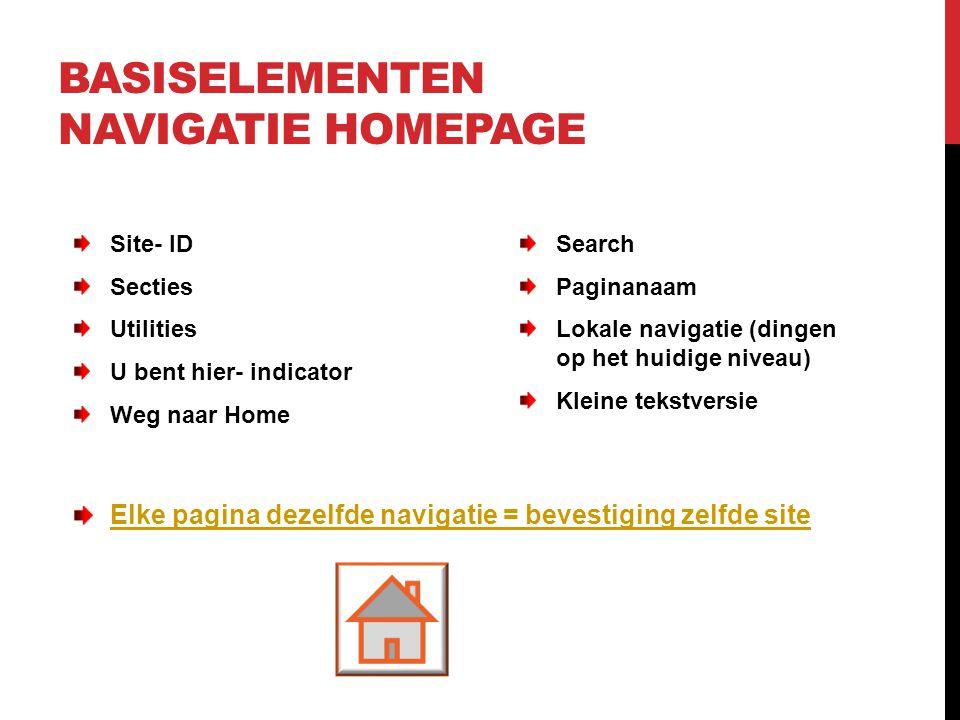 BASISELEMENTEN NAVIGATIE HOMEPAGE Site- ID Secties Utilities U bent hier- indicator Weg naar Home Search Paginanaam Lokale navigatie (dingen op het hu