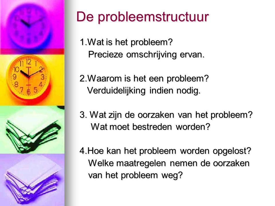 De probleemstructuur 1.Wat is het probleem? Precieze omschrijving ervan. 2.Waarom is het een probleem? Verduidelijking indien nodig. Verduidelijking i