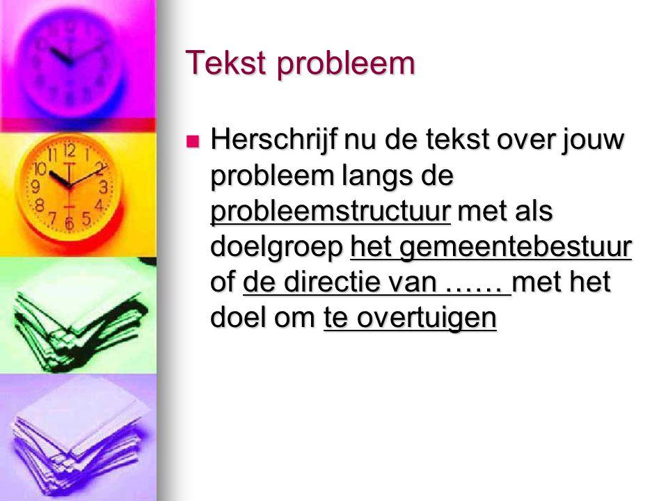 Tekst probleem Herschrijf nu de tekst over jouw probleem langs de probleemstructuur met als doelgroep het gemeentebestuur of de directie van …… met he