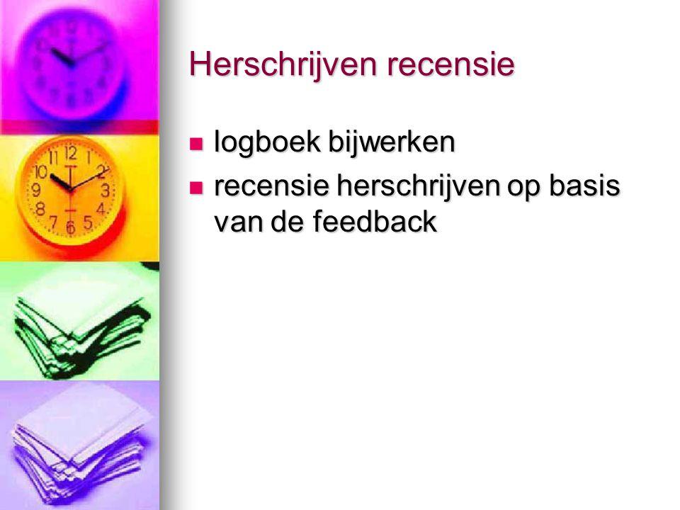 Herschrijven recensie logboek bijwerken logboek bijwerken recensie herschrijven op basis van de feedback recensie herschrijven op basis van de feedbac