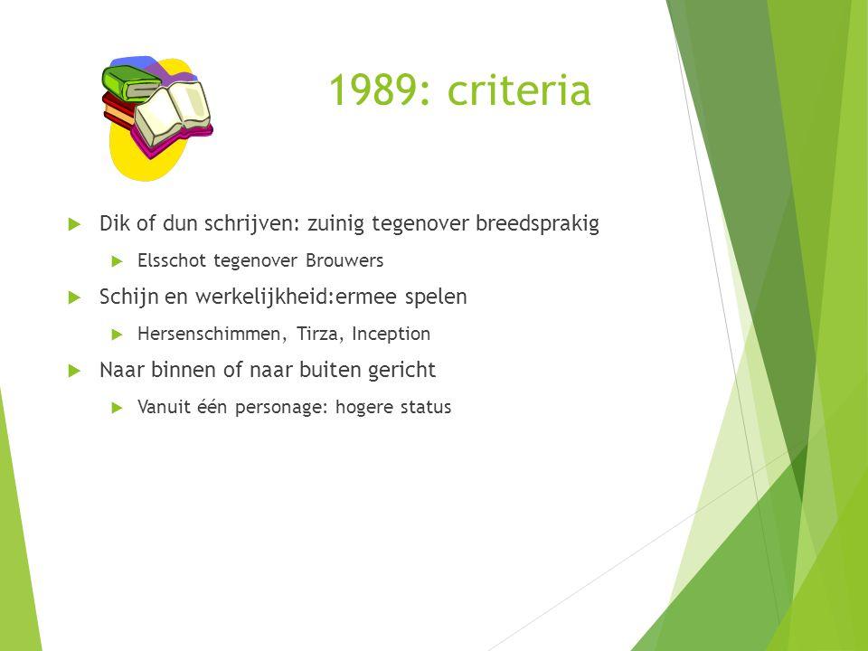 1989: criteria  Dik of dun schrijven: zuinig tegenover breedsprakig  Elsschot tegenover Brouwers  Schijn en werkelijkheid:ermee spelen  Hersenschi