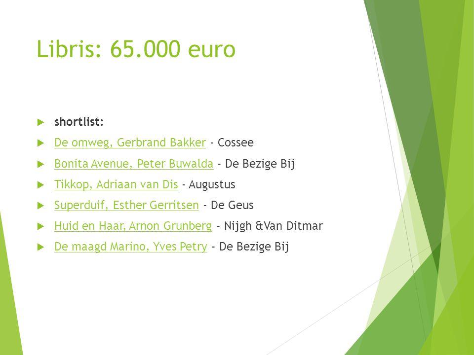Libris: 65.000 euro  shortlist:  De omweg, Gerbrand Bakker - Cossee De omweg, Gerbrand Bakker  Bonita Avenue, Peter Buwalda - De Bezige Bij Bonita