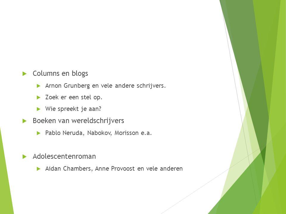  Columns en blogs  Arnon Grunberg en vele andere schrijvers.  Zoek er een stel op.  Wie spreekt je aan?  Boeken van wereldschrijvers  Pablo Neru
