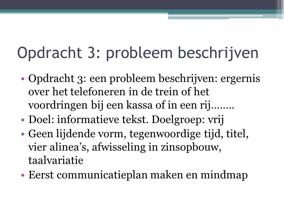 Opdracht 3: probleem beschrijven Opdracht 3: een probleem beschrijven: ergernis over het telefoneren in de trein of het voordringen bij een kassa of i
