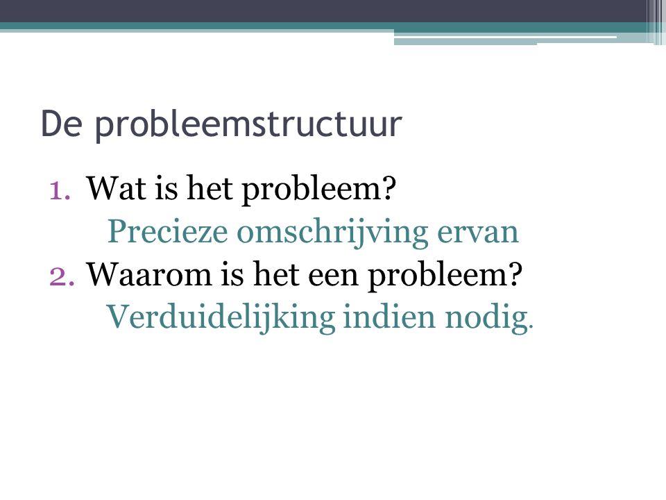 De probleemstructuur 1.Wat is het probleem? Precieze omschrijving ervan 2.Waarom is het een probleem? Verduidelijking indien nodig.