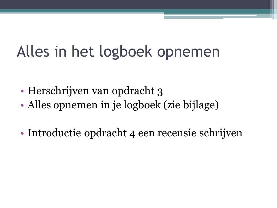 Alles in het logboek opnemen Herschrijven van opdracht 3 Alles opnemen in je logboek (zie bijlage) Introductie opdracht 4 een recensie schrijven