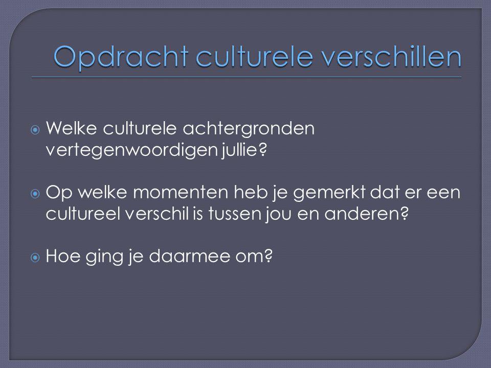  Welke culturele achtergronden vertegenwoordigen jullie?  Op welke momenten heb je gemerkt dat er een cultureel verschil is tussen jou en anderen? 