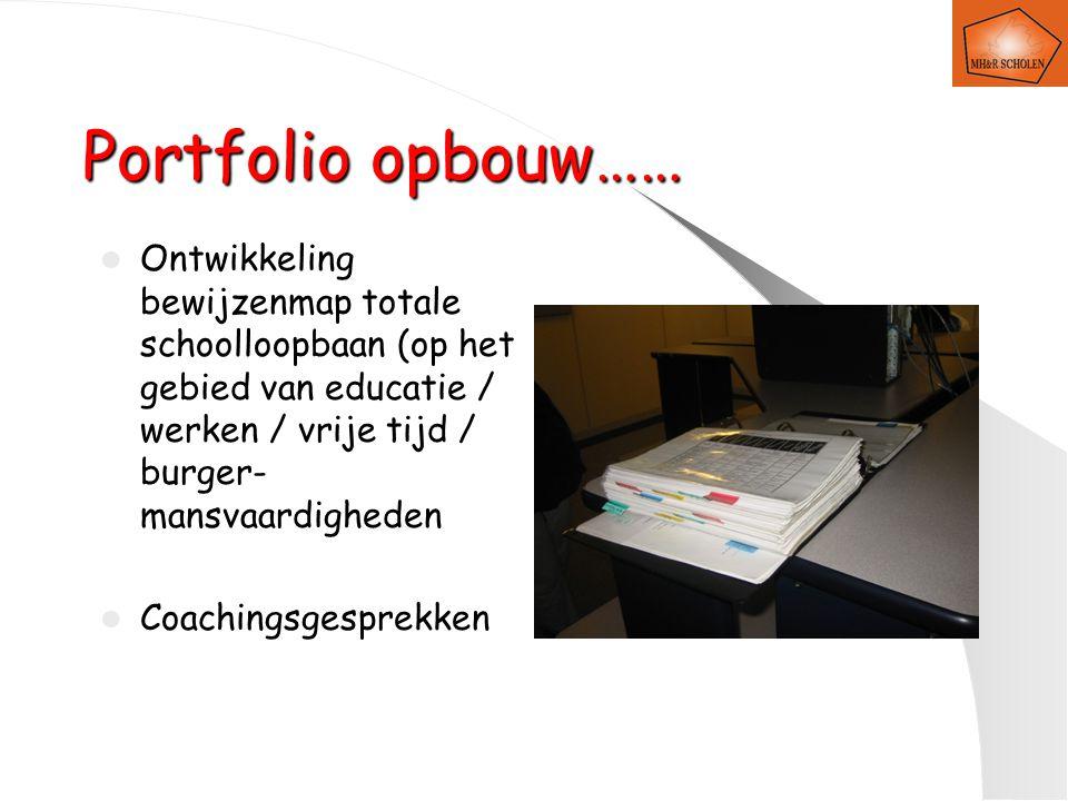 Portfolio opbouw…… Ontwikkeling bewijzenmap totale schoolloopbaan (op het gebied van educatie / werken / vrije tijd / burger- mansvaardigheden Coachingsgesprekken