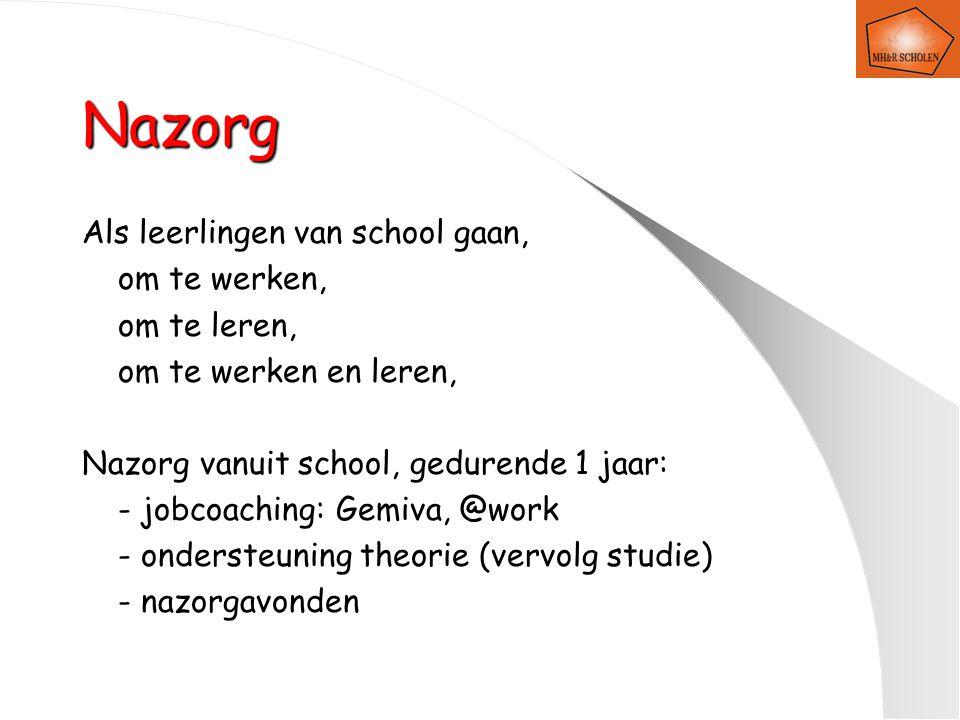 Nazorg Als leerlingen van school gaan, om te werken, om te leren, om te werken en leren, Nazorg vanuit school, gedurende 1 jaar: - jobcoaching: Gemiva, @work - ondersteuning theorie (vervolg studie) - nazorgavonden