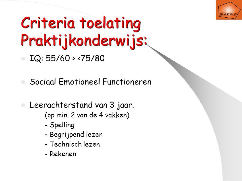 Criteria toelating Praktijkonderwijs: IQ: 55/60 > <75/80 Sociaal Emotioneel Functioneren Leerachterstand van 3 jaar.