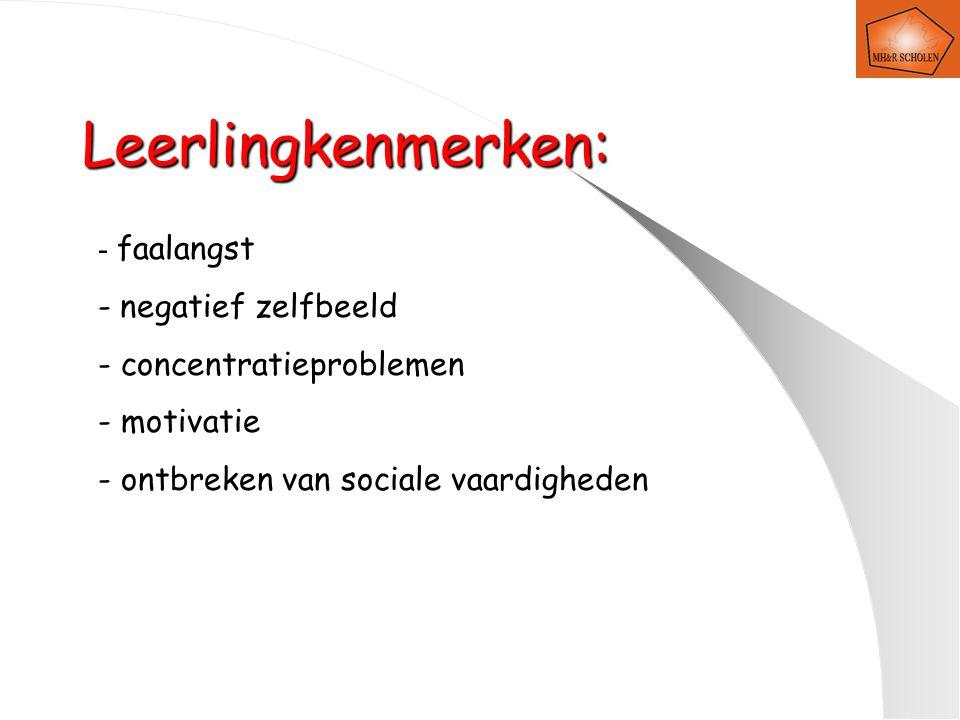 Leerlingkenmerken: - faalangst - negatief zelfbeeld - concentratieproblemen - motivatie - ontbreken van sociale vaardigheden