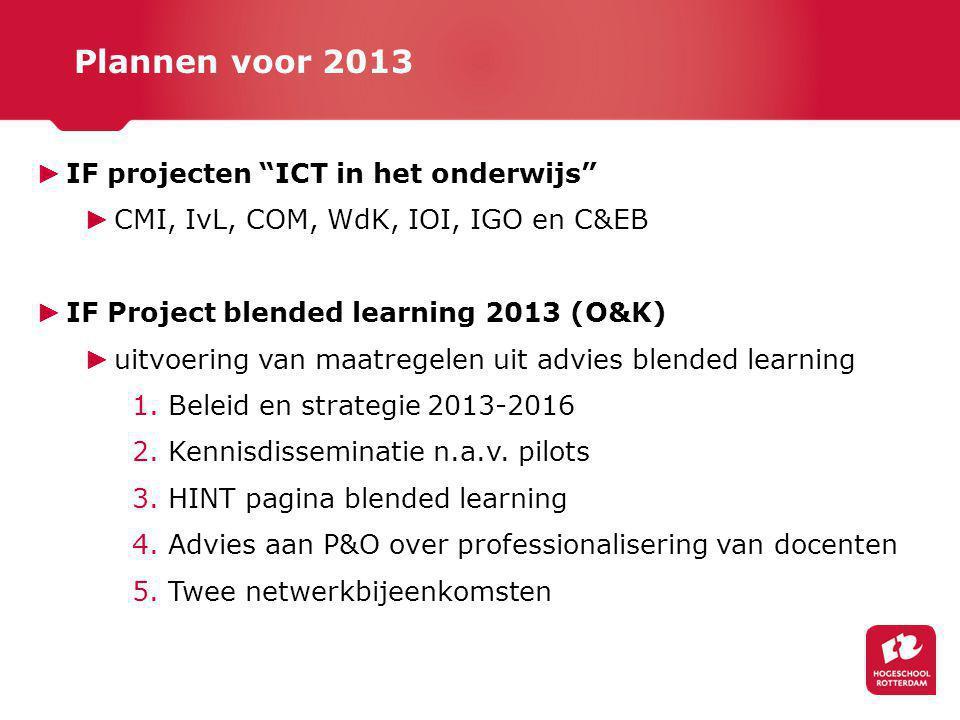 ► IF projecten ICT in het onderwijs ► CMI, IvL, COM, WdK, IOI, IGO en C&EB ► IF Project blended learning 2013 (O&K) ► uitvoering van maatregelen uit advies blended learning 1.Beleid en strategie 2013-2016 2.Kennisdisseminatie n.a.v.