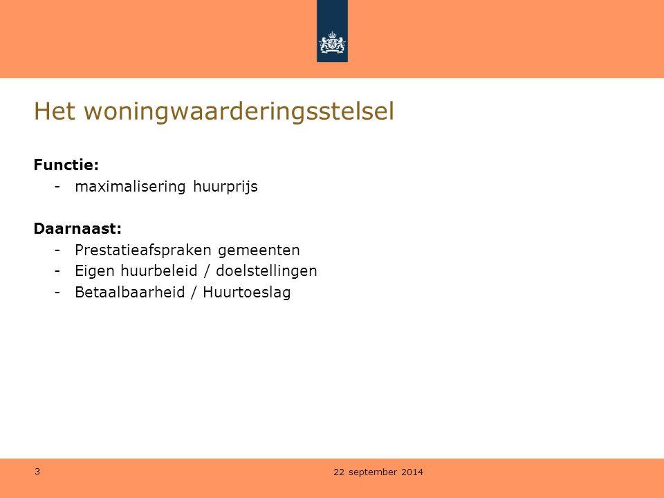 3 Het woningwaarderingsstelsel Functie: -maximalisering huurprijs Daarnaast: -Prestatieafspraken gemeenten -Eigen huurbeleid / doelstellingen -Betaalb