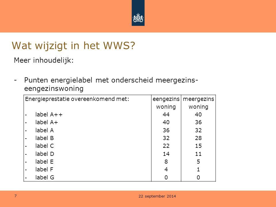 7 Wat wijzigt in het WWS? Meer inhoudelijk: -Punten energielabel met onderscheid meergezins- eengezinswoning 22 september 2014 Energieprestatie overee
