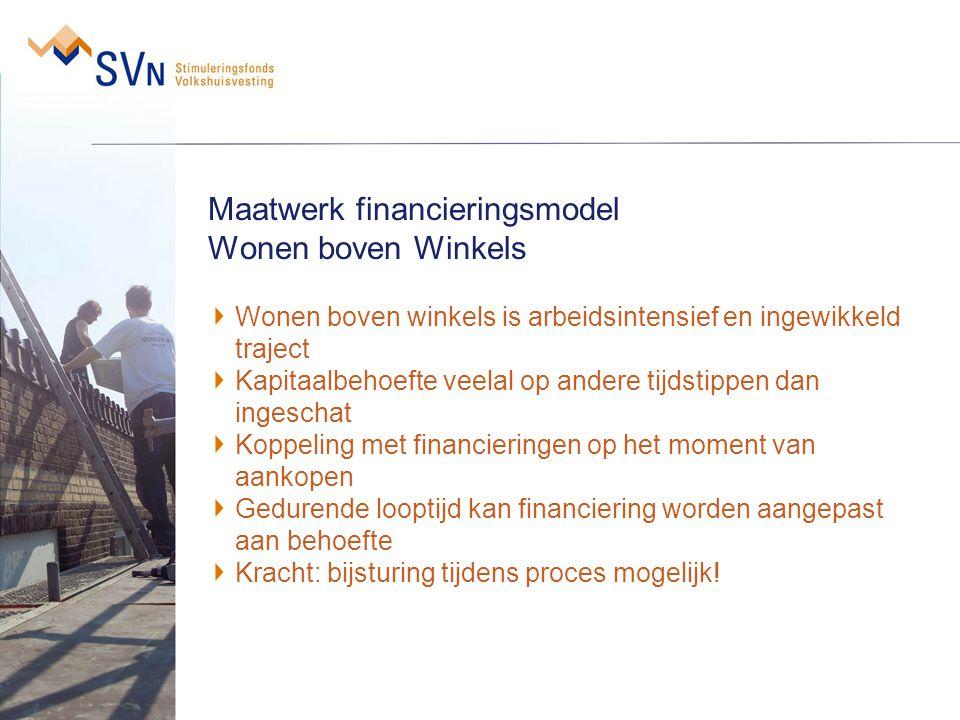 Maatwerk financieringsmodel Wonen boven Winkels Wonen boven winkels is arbeidsintensief en ingewikkeld traject Kapitaalbehoefte veelal op andere tijds