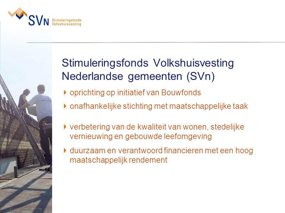 Stimuleringsfonds Volkshuisvesting Nederlandse gemeenten (SVn) oprichting op initiatief van Bouwfonds onafhankelijke stichting met maatschappelijke ta