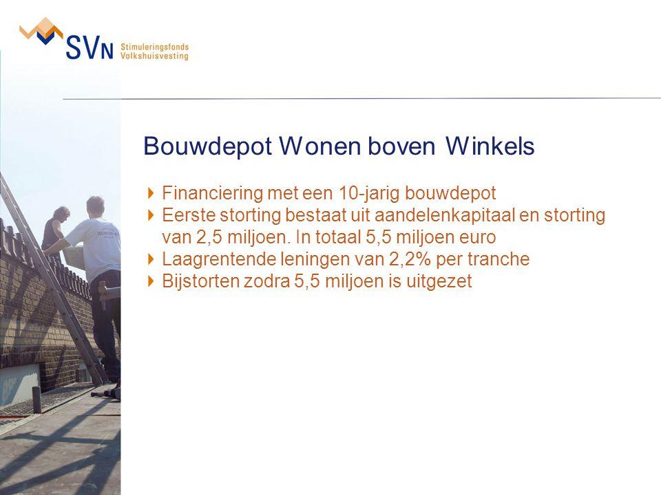Bouwdepot Wonen boven Winkels Financiering met een 10-jarig bouwdepot Eerste storting bestaat uit aandelenkapitaal en storting van 2,5 miljoen. In tot