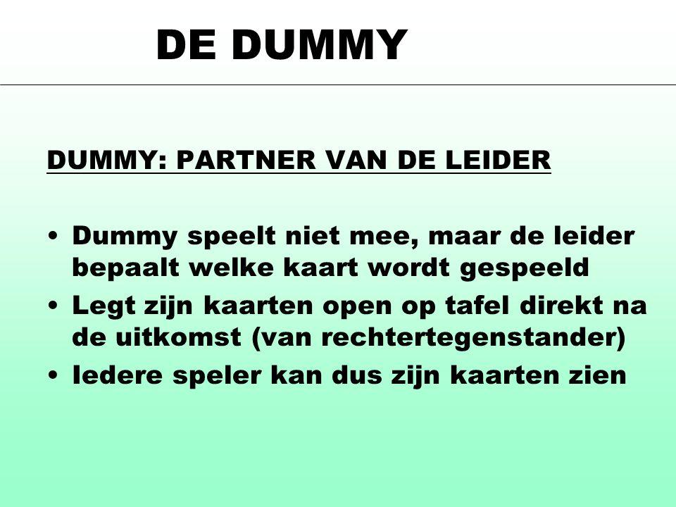 DE DUMMY DUMMY: PARTNER VAN DE LEIDER Dummy speelt niet mee, maar de leider bepaalt welke kaart wordt gespeeld Legt zijn kaarten open op tafel direkt na de uitkomst (van rechtertegenstander) Iedere speler kan dus zijn kaarten zien