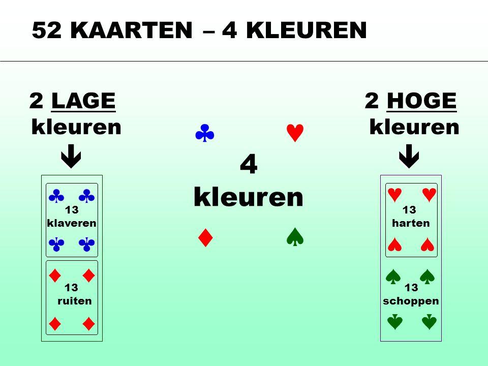 52 KAARTEN – 4 KLEUREN 4 kleuren  2 LAGE kleuren 2 HOGE kleuren   13 harten 13 klaveren 13 ruiten 13 schoppen