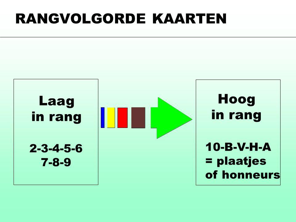 Hoog in rang Laag in rang 2-3-4-5-6 7-8-9 10-B-V-H-A = plaatjes of honneurs RANGVOLGORDE KAARTEN