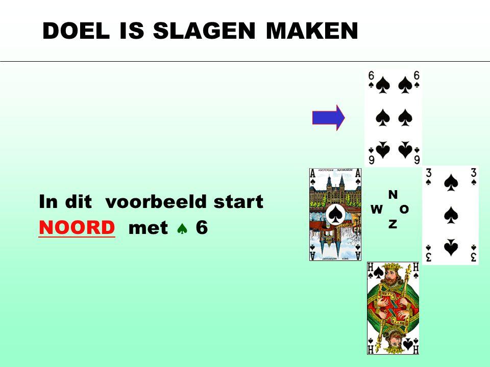 N W O Z In dit voorbeeld start NOORD met  6 DOEL IS SLAGEN MAKEN